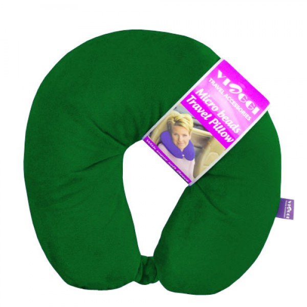 Microbead U Shape Travel Neck Pillow with Fleece - Hunter Green
