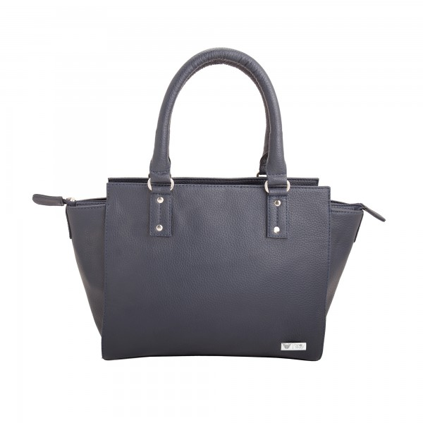 Beau Design Stylish Dark Blue Imported PU Leather Handbag With Double Handle For Women's/Ladies/Girls