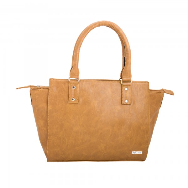 Beau Design Stylish Tan Color Imported PU Leather Handbag With Double Handle For Women's/Ladies/Girls