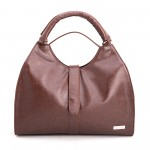 Beau Design Stylish  Brown Color Imported PU Leather Handbag With Double Handle For Women's/Ladies/Girls