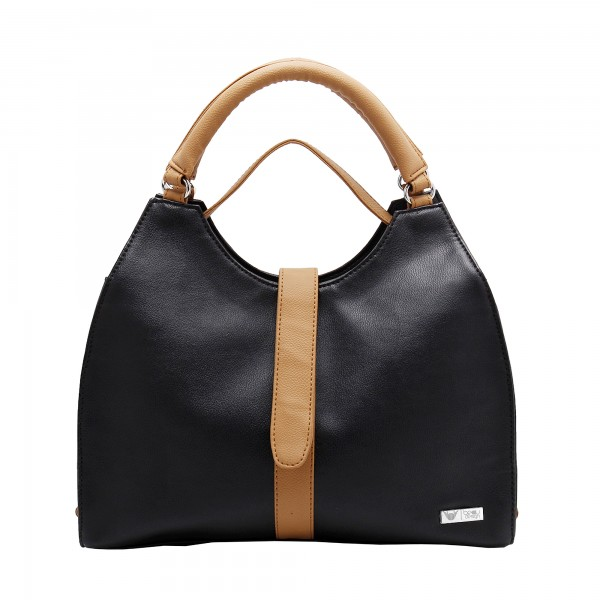 Beau Design Stylish  Black Color Imported PU Leather Casual Handbag With Double Handle For Women's/Ladies/Girls