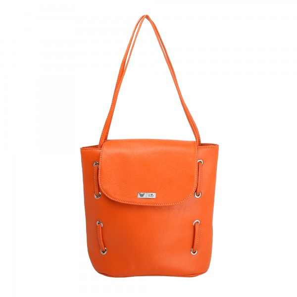 Beau Design Stylish  Orange Color Imported PU Leather Casual Tote Handbag With For Women's/Ladies/Girls