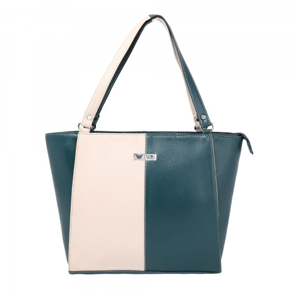 Beau Design Stylish  Green Color Imported PU Leather Tote Handbag With For Women's/Ladies/Girls