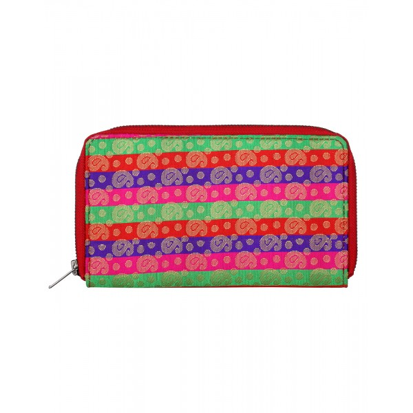 Rajrang Green Brocade Casual Paisley Self Weaved Clutch Bag