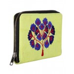 Rajrang Parrot Green Cotton Casual Tree Embroidered Clutch Bag