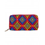 Rajrang Orange Cotton Casual Geometric Embroidered Clutch Bag