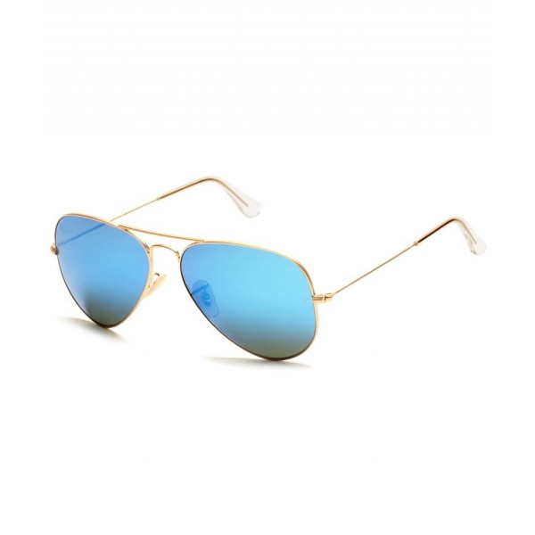 SuperDeals Golden Frame & Aqua Green Glass Aviator Sunglasses For Men & Women