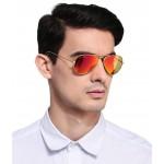SuperDeals Golden Frame & Blue Glass Aviator Sunglasses For Men & Women