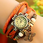 Vintage Style Orange Casual Watch For Women