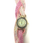 Pink Crystal Shimmer Modest Analog Watch - For Women