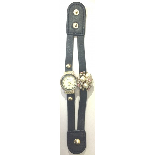 Black  Strap Diamond Ladies Watch Cute Flower Table Header