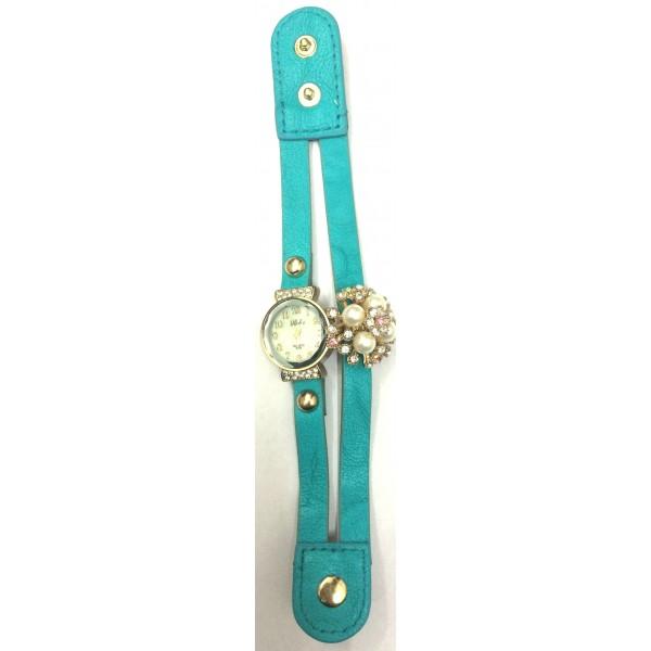 Sky Blue Strap Diamond Ladies Watch Cute Flower Table Header