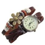 Quartz Stylish Weave WRAP Around Brown Leather Bracelet Lady Woman Wrist Watch