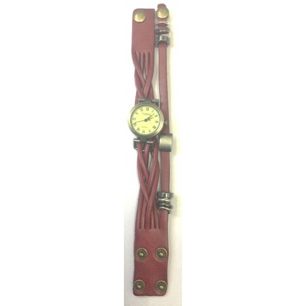 Quartz Stylish Weave WRAP Around Maroon Leather Bracelet Lady Woman Wrist Watch