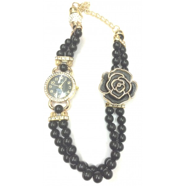 Black Colour Women's Rose Gold Plated Rhinstone Dial Flower Bead Double Wrap Bracelet Watch