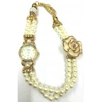 Cream Colour Women's Rose Gold Plated Rhinestone Dial Flower Bead Double Wrap Bracelet Watch