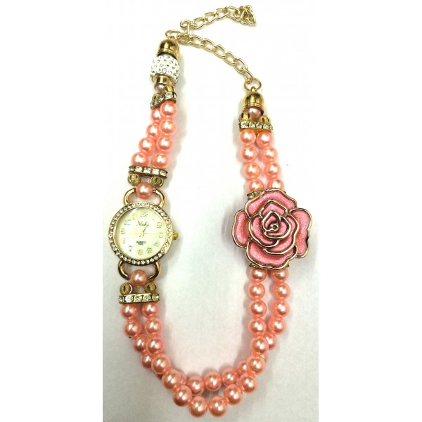 Peach Colour Women's Rose Gold Plated Rhinestone Dial Flower Bead Double Wrap Bracelet Watch