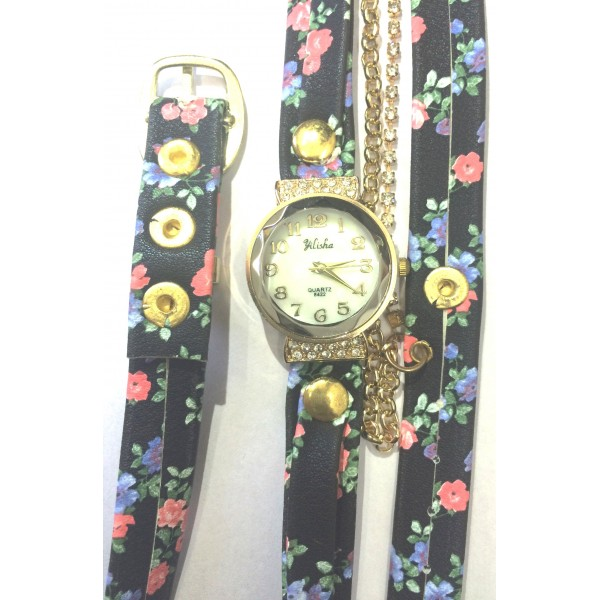 Golden Dial Flower Decorated PU Strap Rhinestone Women Wristwatch