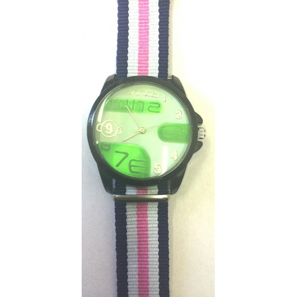 Green Strap Men's Round Dial Quartz Analog Rubber Band Wrist Watch