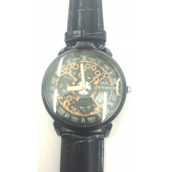Black Leather Skeleton  Mechanical Fashion Luxury Black Dial Men WristWatch