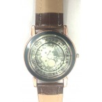 Copper Leather Skeleton Mechanical Fashion Luxury Black DiaMond WristWatch