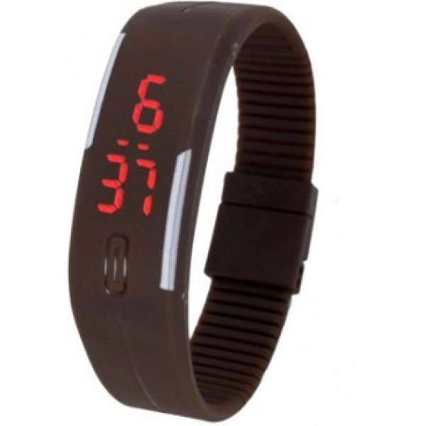 Brown Plastic Digital Rectangular Bracelet BandLED Watch For Boys,Men,Girl, Women