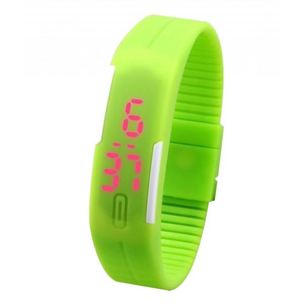 Green Plastic Digital Rectangular Bracelet Band LED Watch For Boys,Men,Girl, Women