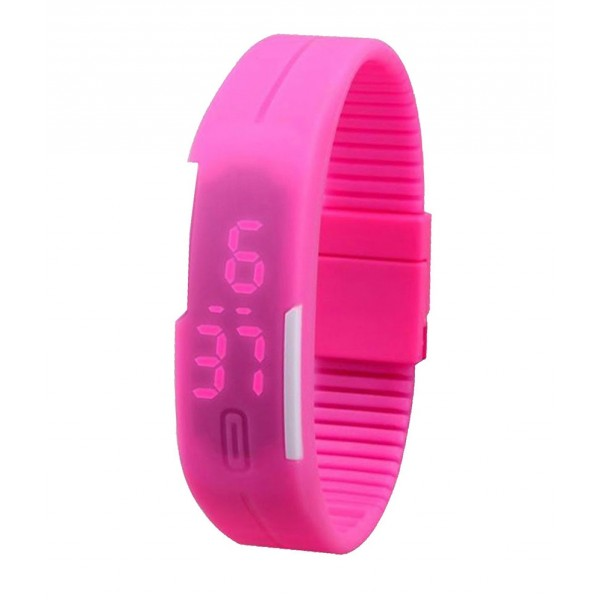 Pink Plastic Digital Rectangular Bracelet Band LED Watch For Boys,Men,Girl, Women