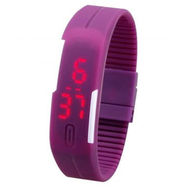 Purple Plastic Digital Rectangular Bracelet Band LED Watch For Boys,Men,Girl, Women