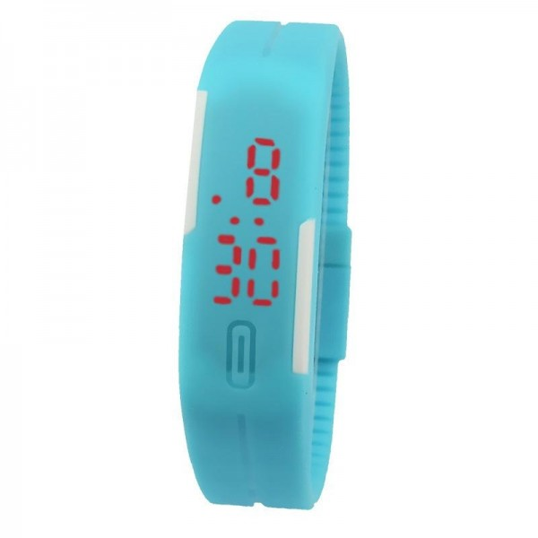 Sky Blue Plastic Digital Rectangular Bracelet Band LED Watch For Boys,Men,Girl, Women