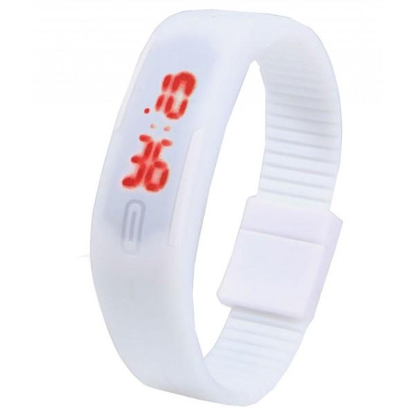 White Plastic Digital Rectangular Bracelet Band LED Watch For Boys,Men,Girl, Women