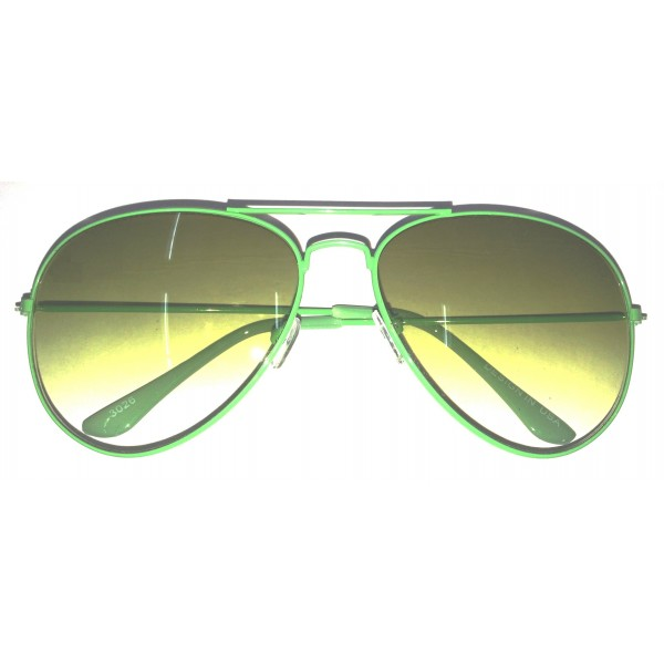 Green Frame Green Gradient Lens Aviator Sunglasses