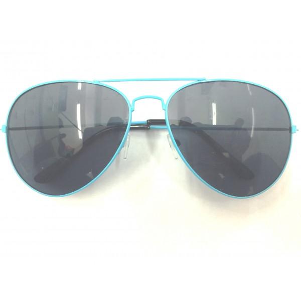 Sky Blue Frame Black Lens Aviator Sunglasses