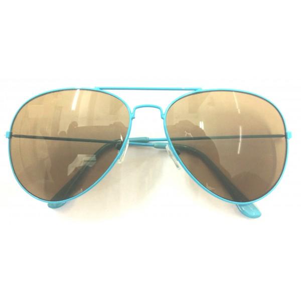 Sky Blue Frame Brown Lens Aviator Sunglasses