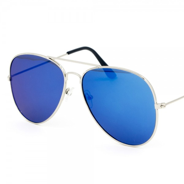 Silver Frame Sky Bluish Reflector Mirror Flat Aviator Sunglass