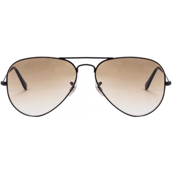 Black Frame Brown Gradient Aviator Mens Sunglasses