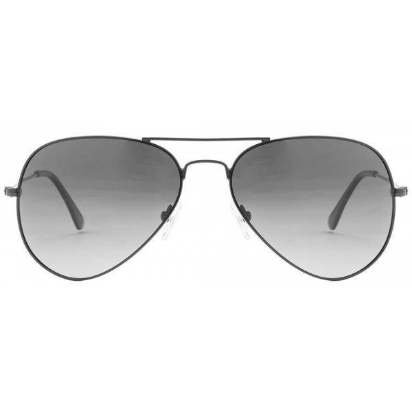 Black Frame Grey Gradient Glass Aviator Mens Sunglasses