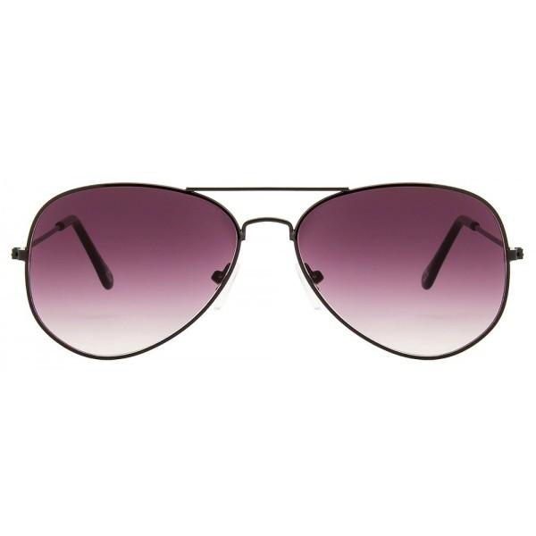 Black Frame Pink Gradient Glass Aviator Mens Sunglasses