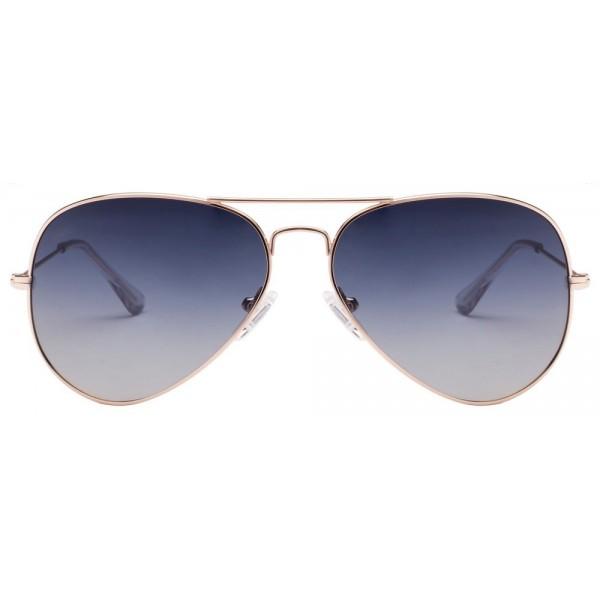 Golden Frame Blue Gradient Aviator Mens Sunglasses