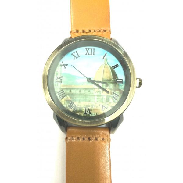 Vintage Designer Quartz Light Brown Leather Strap Mens Wristwatch