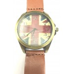 Vintage England Flag Design Quartz Brown Leather Strap Mens Wristwatch