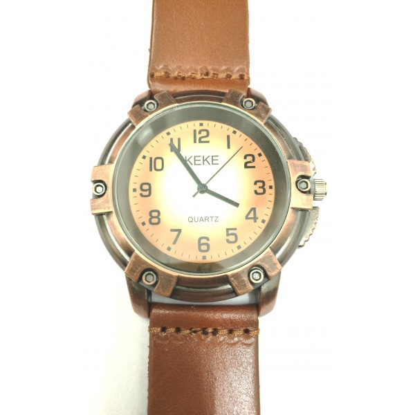 Vintage Screw Design Quartz Brown Leather Strap Mens Wristwatch
