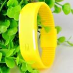 Yellow Plastic Digital Rectangular Bracelet Band LED Watch For Boys,Men,Girl, Women
