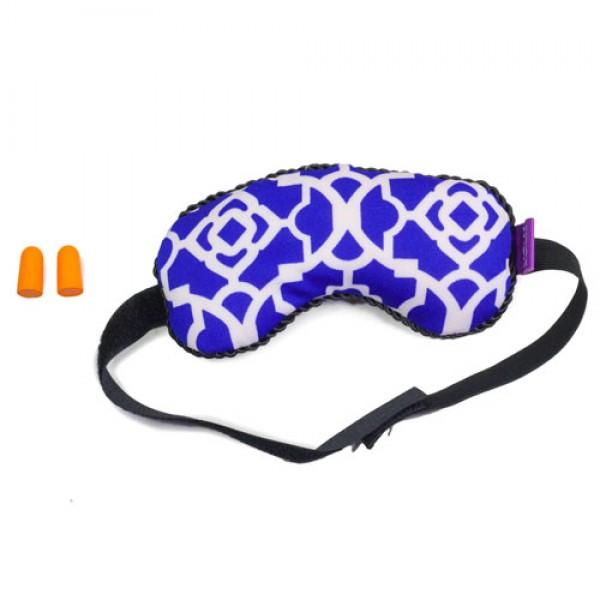 VIAGGI Microbeads Eye Mask with Ear Plugs - Trellis Blue