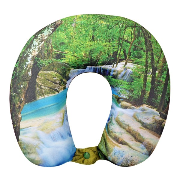 VIAGGI U Shape Memory Foam Printed Travel Neck Pillow - Green Forest