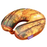 VIAGGI Memory Foam Printed Travel Neck Pillow - Yellow Forest