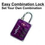 VIAGGI 3 Dial Travel Sentry Approved Security Luggage Resettable Combination Number Padlock - Maroon
