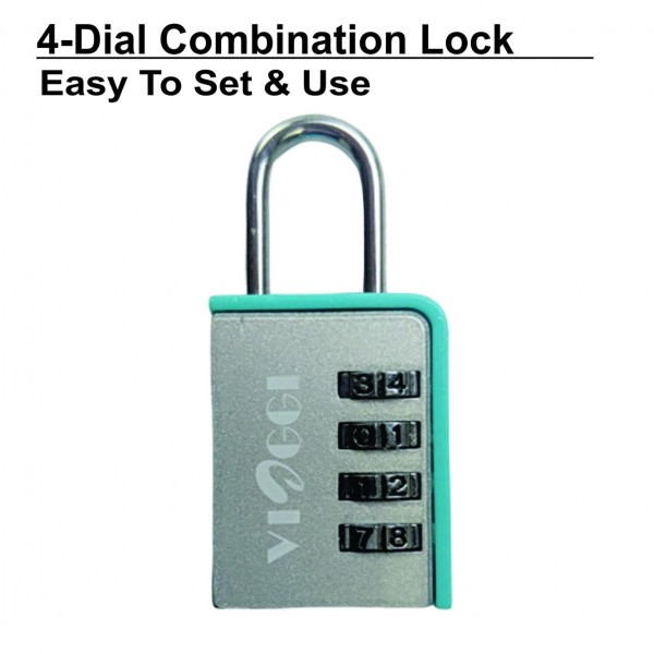 VIAGGI 4 Dial Luggage Resettable Combination Number Padlock – Silver Blue