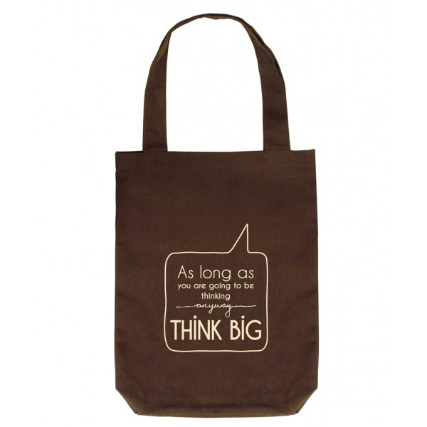 Clean Planet Think Big  (brown with cream print)